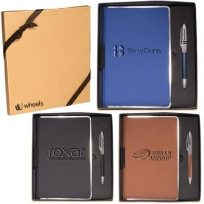 Leeman™ Naples™ Metallic Trim Journal & Pen Gift Set