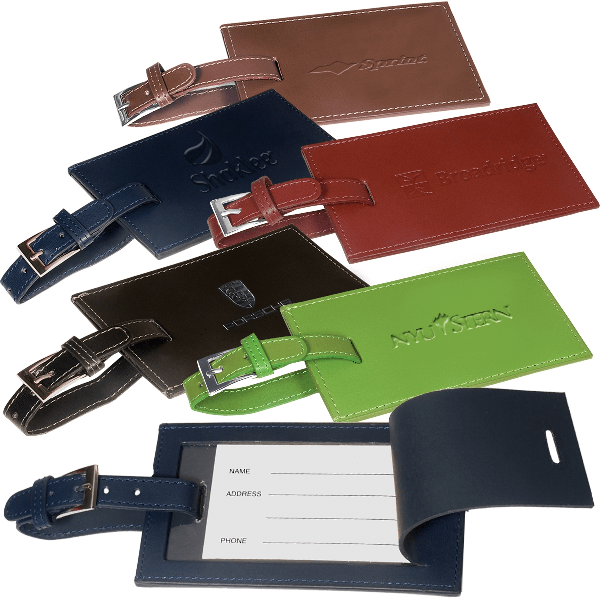 Leeman™ Whitney™ Rectangular Bonded Leather Luggage Tag