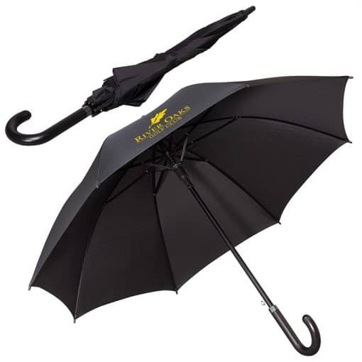"LEEMAN™ 48"" Executive Umbrella w/Curved Faux Leather Handle"